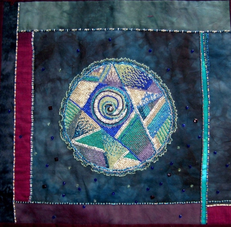 """Lipson, Mandala 1, 2005, glass beads and pearls on pieced cotton, approx. 12"""" x 13"""""""