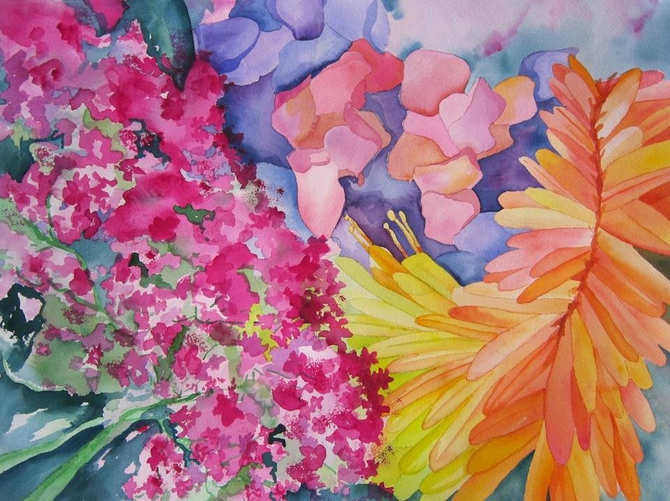 """Lipson, Market Flowers, 2013, watercolor, 22"""" x 30"""""""