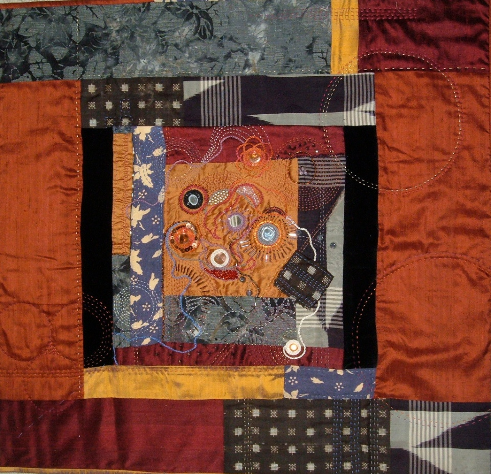 Untitled, 2009, pieced, beaded and embroidered silk, cotton, rayon, vintage kimono fabric © Elaine Lipson - All rights reserved