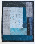 "Lipson, Blues, 2010, velvet, cotton, silk, vintage fabrics, beads, sequins, approx. 9"" x 12"""