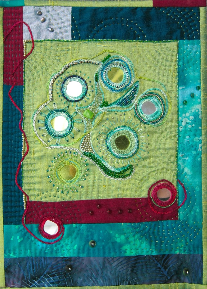 "Lipson, Green Shisha, 2009, silk cotton, glass beads, pearls, glass shisha mirrors, plastic pailettes, embroidery floss, approx. 10"" x 14"""
