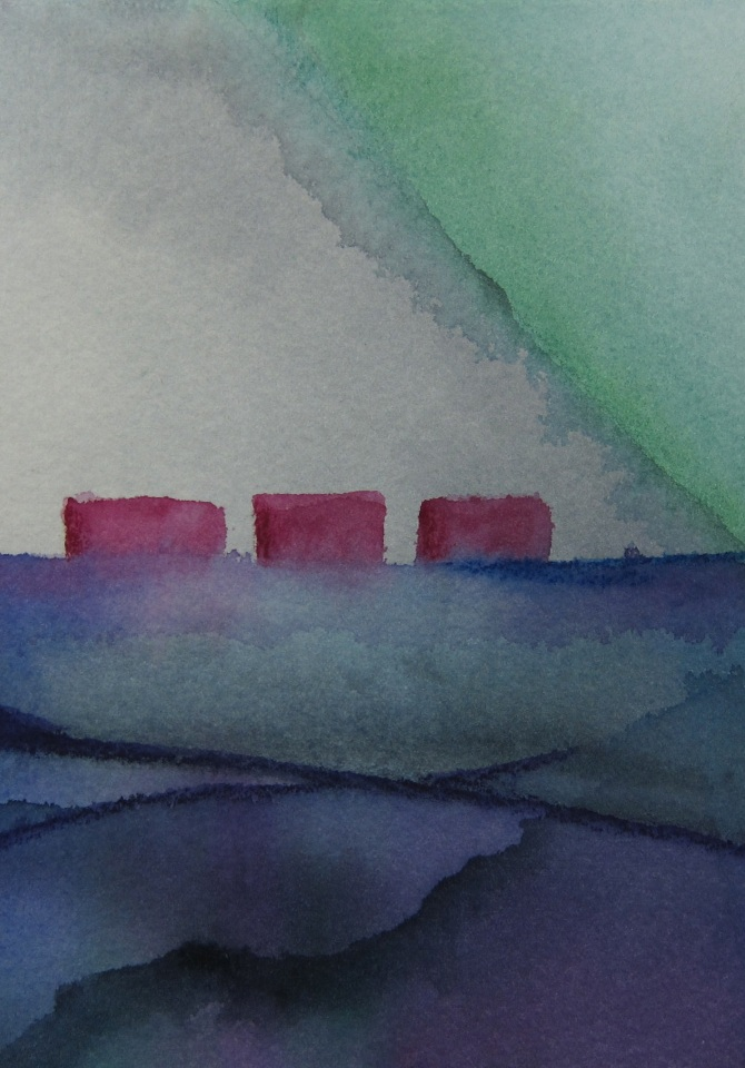 Lipson, Three Houses, 2013, Watercolor on paper