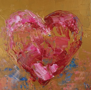 "Lipson, Bronze Heart, 2014, Acrylic on board, 6"" x 6"""
