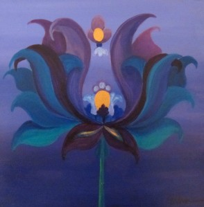 "Lipson, Laura's Lotus, 2014, acrylic on board, 6"" x 6"""
