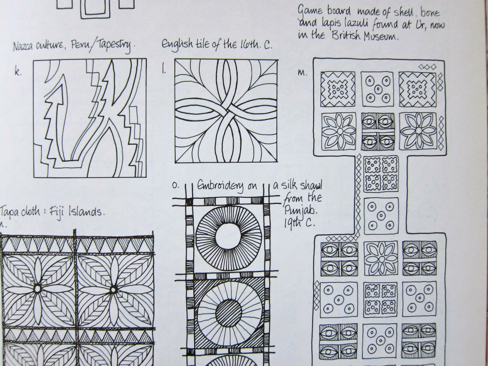 Designing with Pattern + Design Sources for Pattern by Jan Messent, 1992, Crochet Design, page detail.